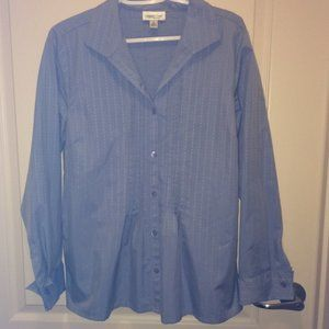 Coldwater Creeek Blue Pintuck Pleated Blouse M